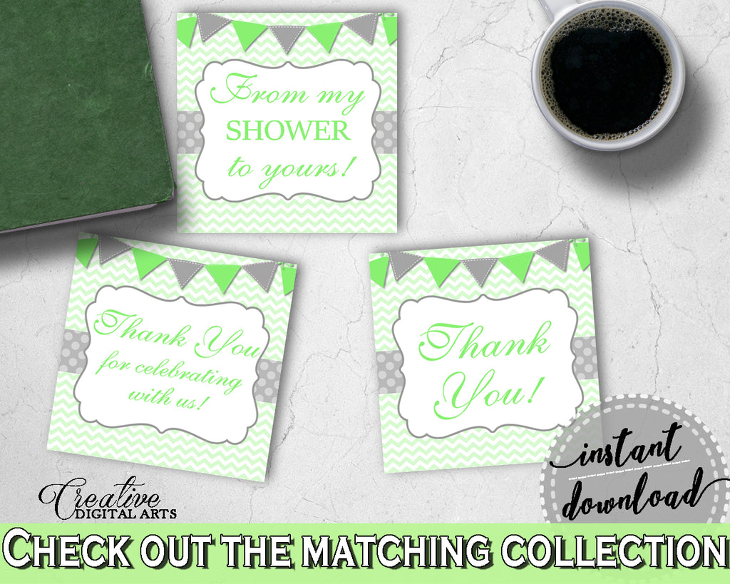 Baby shower THANK YOU favor tags square printable with chevron green theme neutral shower, digital files, Jpg Pdf, instant download - cgr01