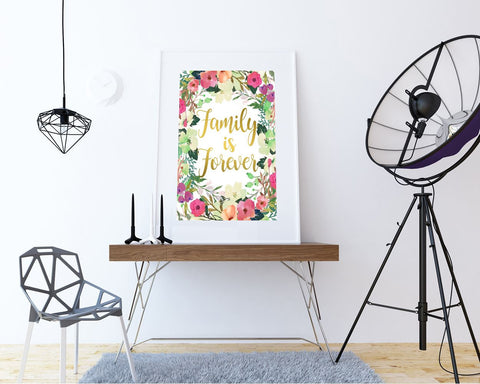 Wall Decor Forever Printable Family Prints Forever Sign Family  Printable Art Forever dorm decor apartment decor family forever floral decor - Digital Download