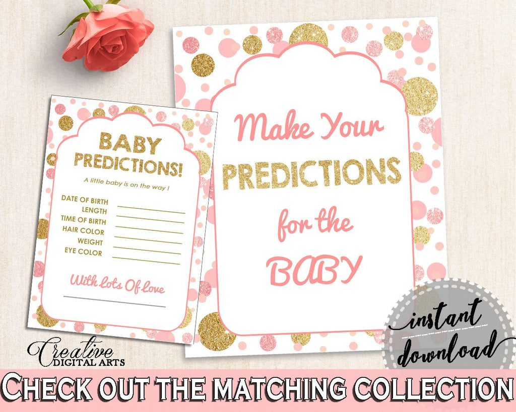 Baby Predictions, Baby Shower Baby Predictions, Dots Baby Shower Baby Predictions, Baby Shower Dots Baby Predictions Pink Gold party RUK83 - Digital Product