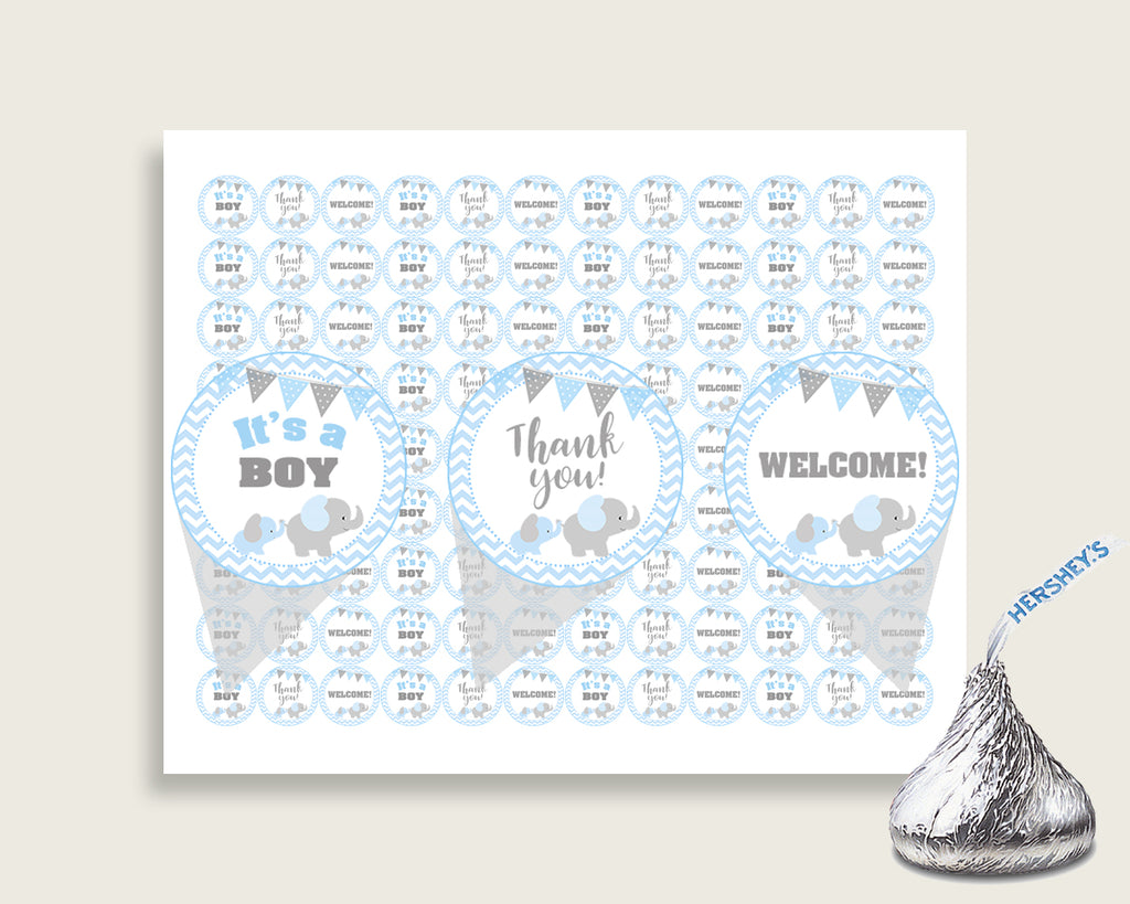 Elephant Hershey Kisses Circle Printable, Blue Grey Hershey Kisses Labels Round Digital, Boy Baby Shower, Instant Download, ebl02