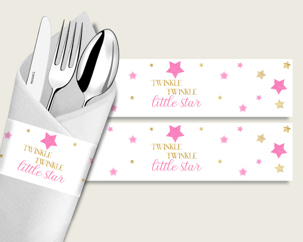 Twinkle Star Baby Shower Napkin Rings Printable, Pink Gold Napkin Wrappers, Girl Shower Utensils Wrap, Instant Download, Cute Stars bsg01