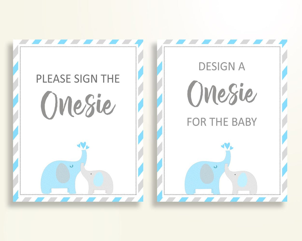 Sign The Onesie Baby Shower Design A Onesie Elephant Baby Shower Sign The Onesie Blue Gray Baby Shower Elephant Design A Onesie C0U64 - Digital Product