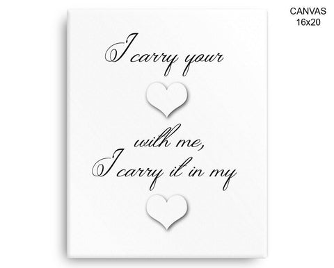 I Carry Your Heart Print, Beautiful Wall Art with Frame and Canvas ...