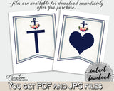 Banner in Nautical Anchor Flowers Bridal Shower Navy Blue Theme, banner alphabet, mermaid bridal, printable files, party theme - 87BSZ - Digital Product