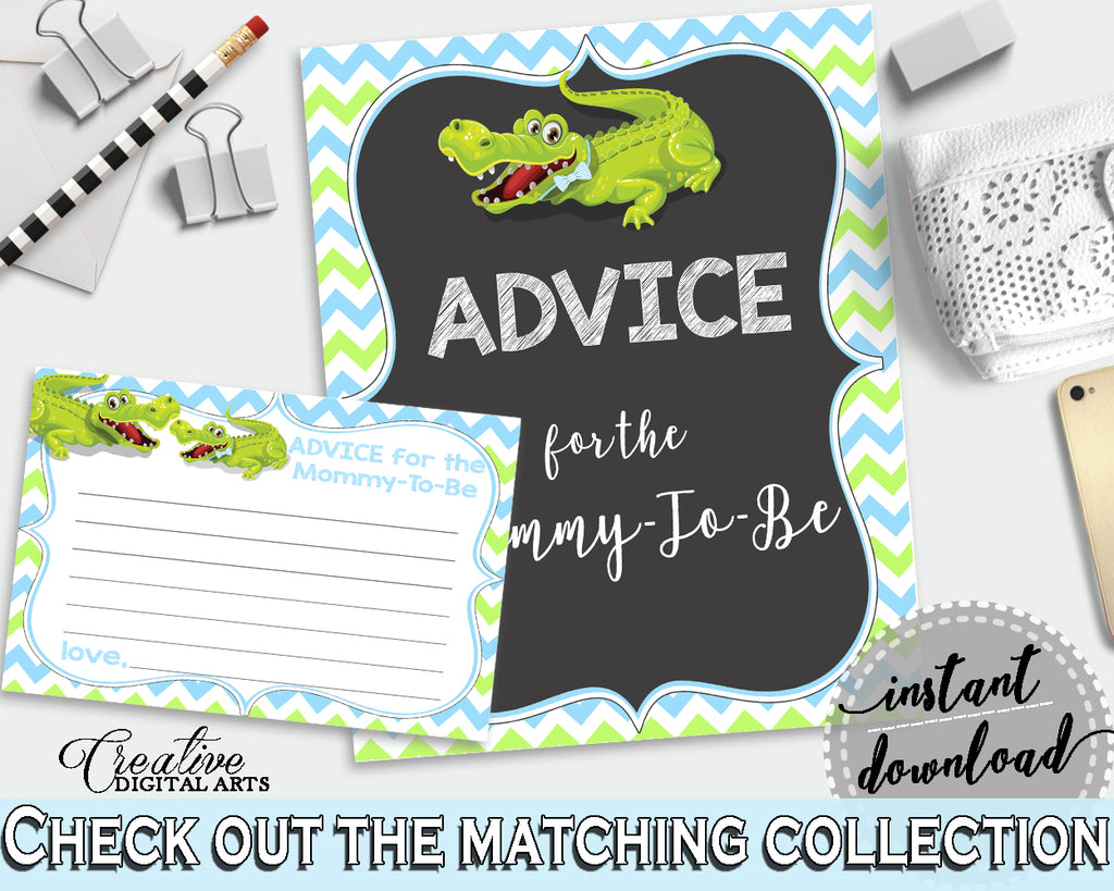 ADVICE FOR THE MOMMY TO BE and ADVICE FOR THE NEW PARENTS baby shower activities with green alligator and blue color theme, instant download - ap002