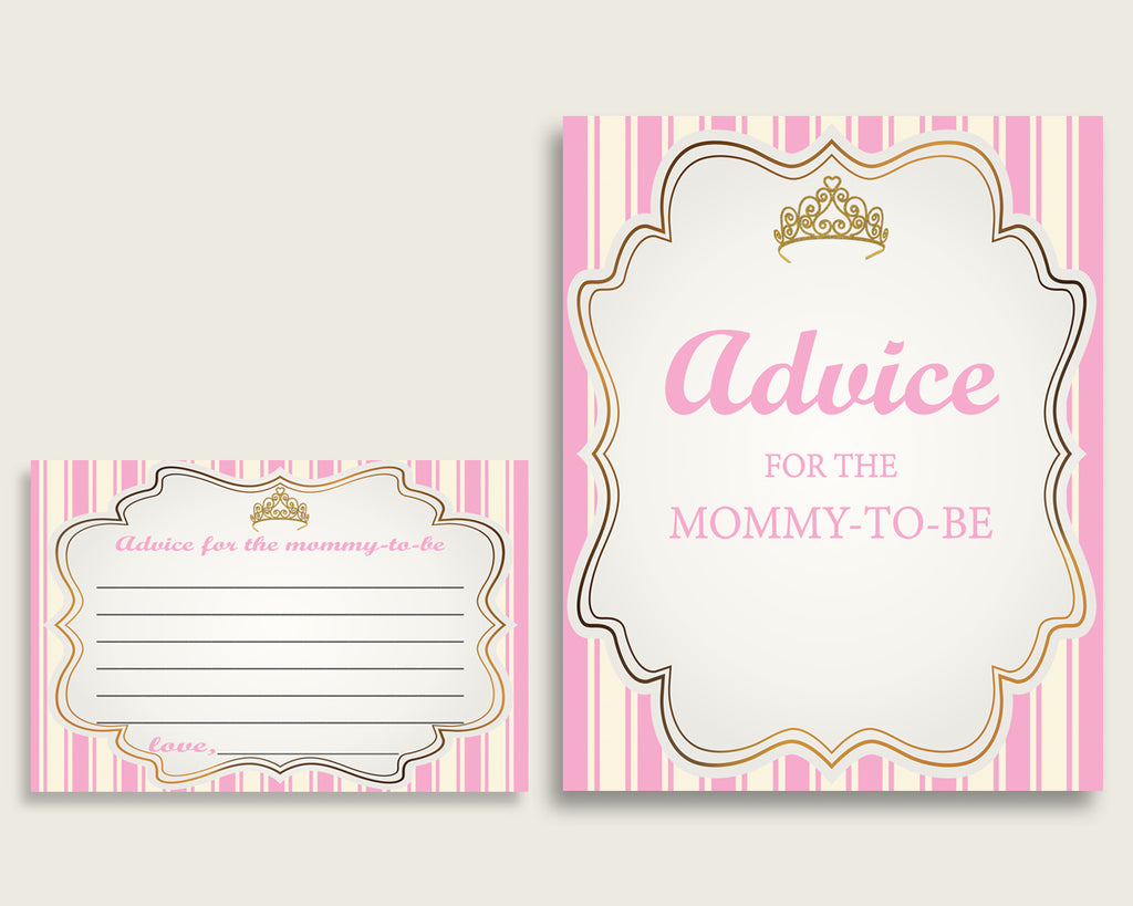 Royal Princess Advice For Mommy To Be Cards & Sign, Printable Baby Shower Pink Gold Advice For New Parents, Instant Download, rp002