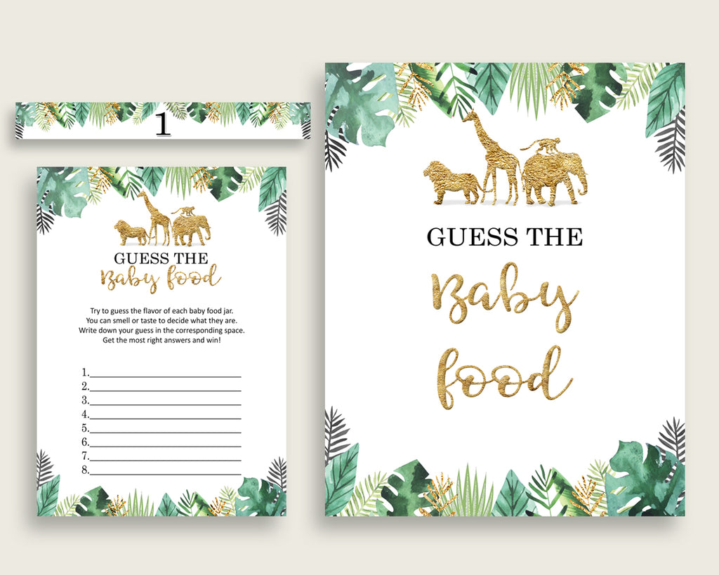 Gold Green Jungle Guess The Baby Food Game Printable, Gender Neutral Baby Shower Food Guessing Game Activity, Instant Download, EJRED