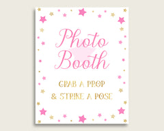 Twinkle Star Photobooth Sign Printable, Girl Baby Shower Pink Gold Photo Booth, Twinkle Star Selfie Station Sign, 8x10 16x20, Instant bsg01