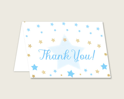 Blue Gold Thank You Cards Printable, Stars Baby Shower Thank You Notes, Boy Shower Thank You Folded, Instant Download, Most Popular bsr01
