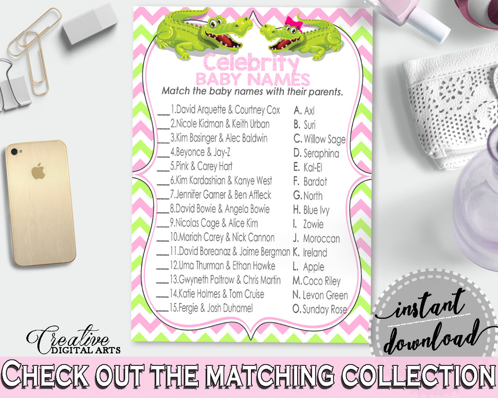 CELEBRITY BABY NAMES baby shower game with green alligator and pink color theme, instant download - ap001