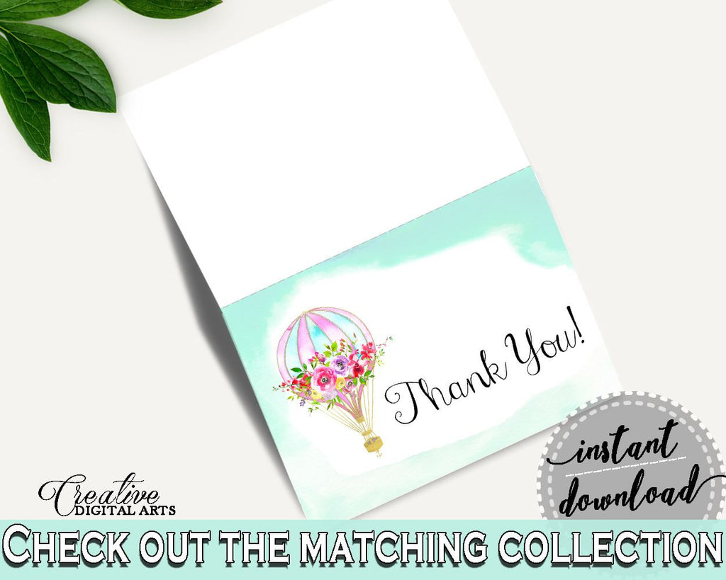 Thank You Card Baby Shower Thank You Card Hot Air Balloon Baby