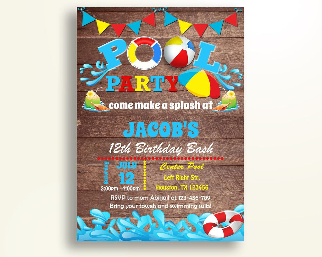 Pool Bash Birthday Invitation Party