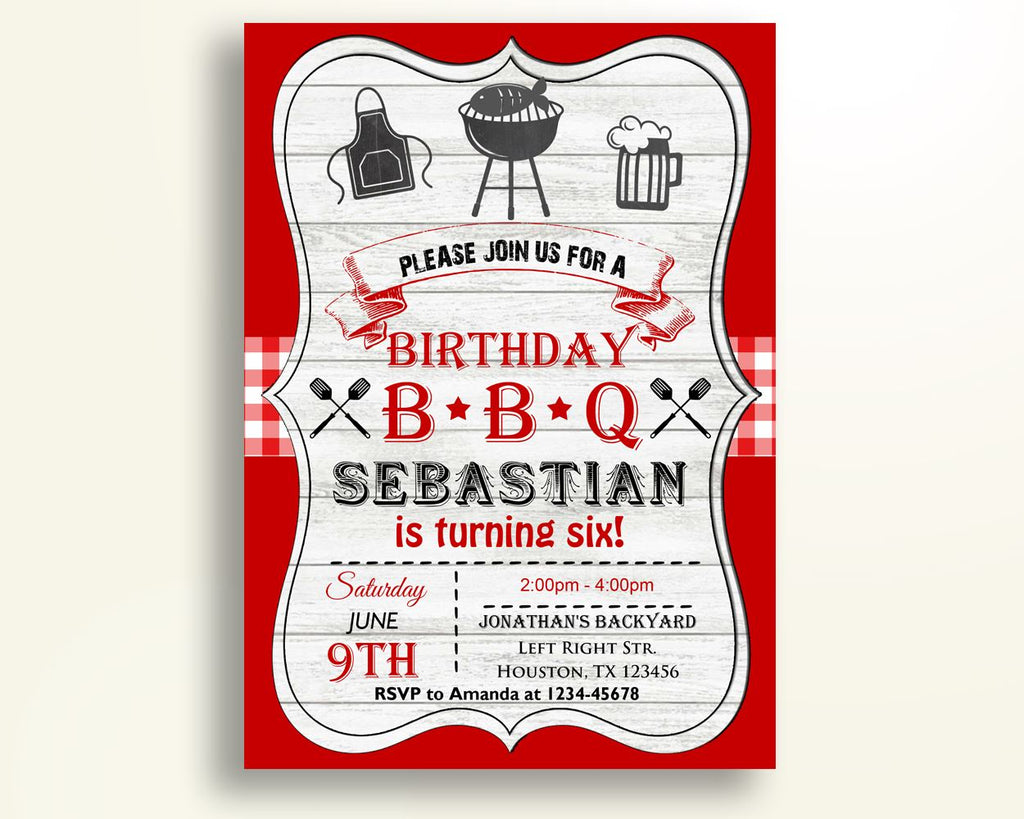 Bbq Birthday Invitation Wood Birthday Party Invitation Bbq Birthday Party Wood Invitation Boy Girl bbq invite fish barbecue 1BG4T - Digital Product