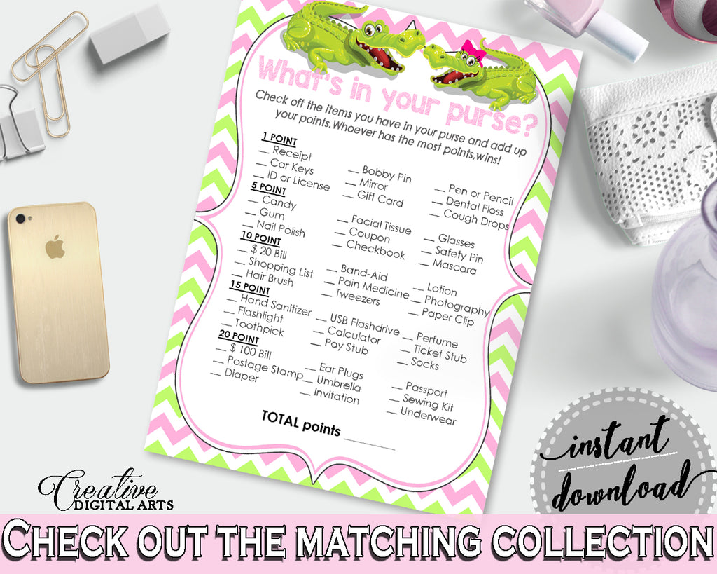 WHAT'S IN YOUR PURSE baby shower game with green alligator and pink color theme, instant download - ap001