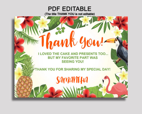 Birthday Tropical Thank You Tropical Self Editable Green Yellow Thank You Notes Tropical Party Thank You Boy Girl 8LFM8
