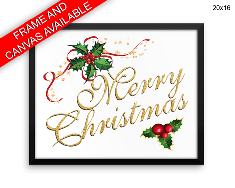Merry Christmas Print, Beautiful Wall Art with Frame and Canvas options available Christmas Decor