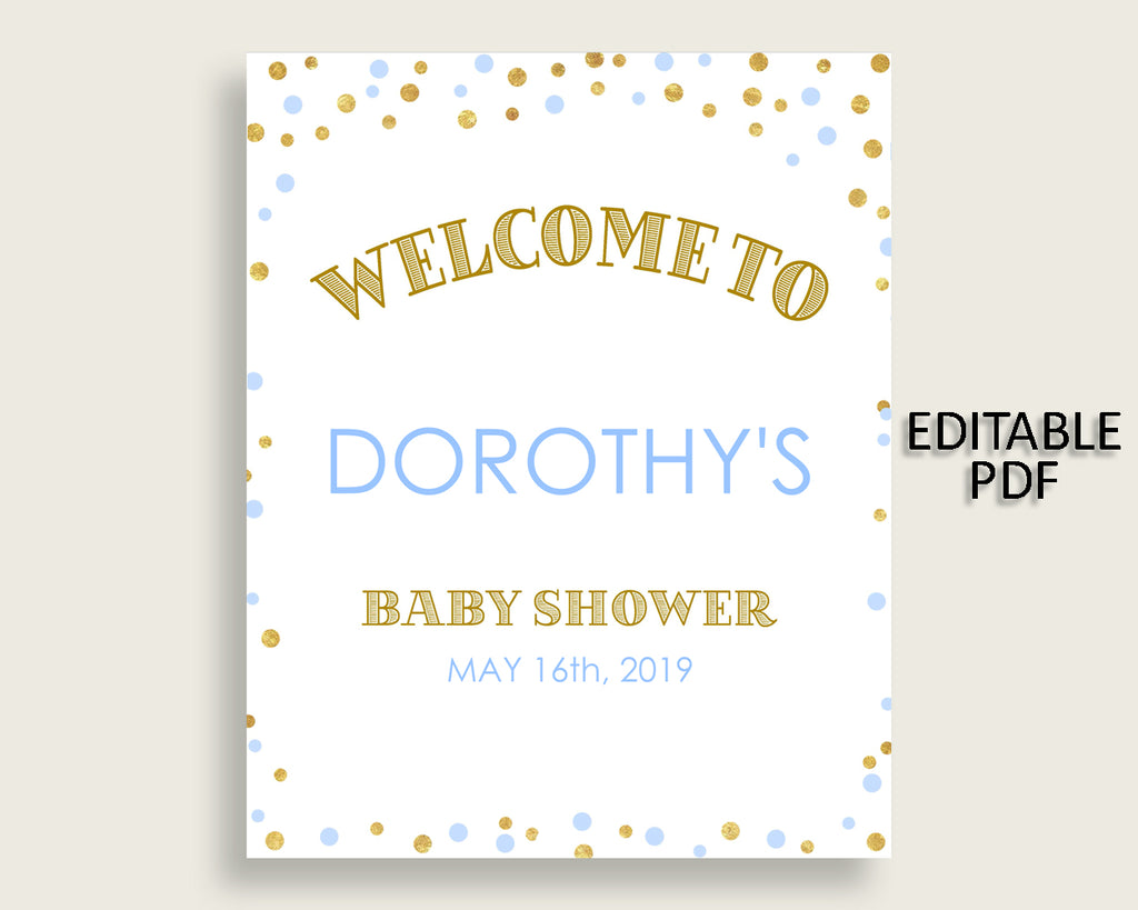Welcome Sign Baby Shower Welcome Sign Confetti Baby Shower Welcome Sign Blue Gold Baby Shower Confetti Welcome Sign party ideas pdf cb001