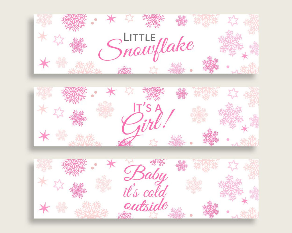 Bottle Labels Baby Shower Bottle Labels Winter Baby Shower Bottle Labels Baby Shower Girl Bottle Labels Pink White party theme 74RVX - Digital Product