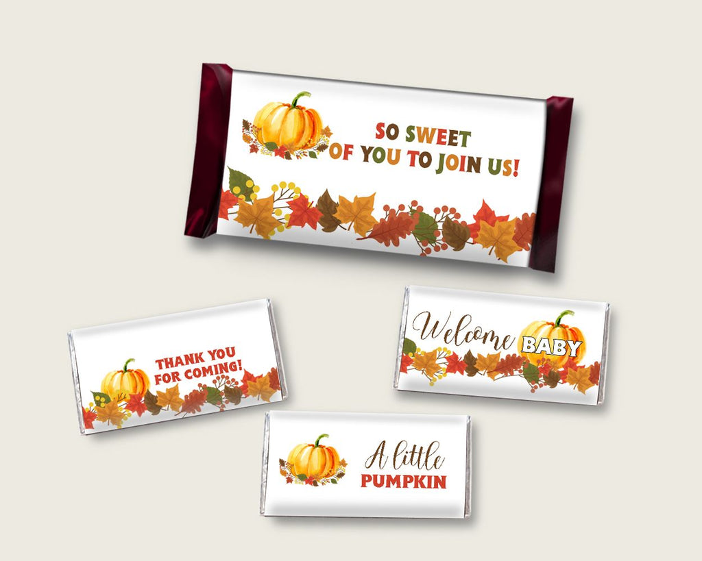 Candy Wrappers Baby Shower Hershey Wrappers Fall Pumpkin Baby Shower Candy Wrappers Baby Shower Fall Pumpkin Hershey Wrappers Orange BPK3D - Digital Product