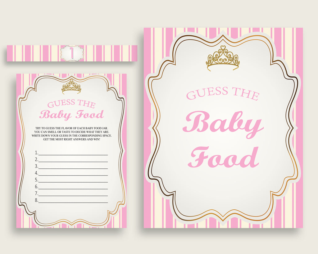 Pink Gold Royal Princess Guess The Baby Food Game Printable, Girl Baby Shower Food Guessing Game Activity, Instant Download, Glamorous rp002