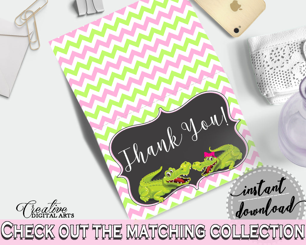 Baby shower THANK YOU card printable with green alligator and pink color theme for girls, instant download - ap001