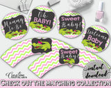 Baby shower CUPCAKE TOPPERS and CUPCAKE WRAPPERS printable with green alligator and pink color theme for girl, instant download - ap001