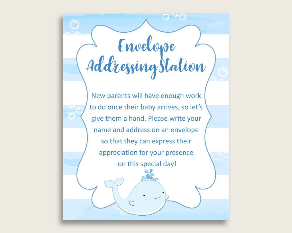 Blue White Baby Shower Address Sign Printable, Whale Envelope Station Sign, Envelope Addressing Baby Shower Boy, Light Blue wbl01