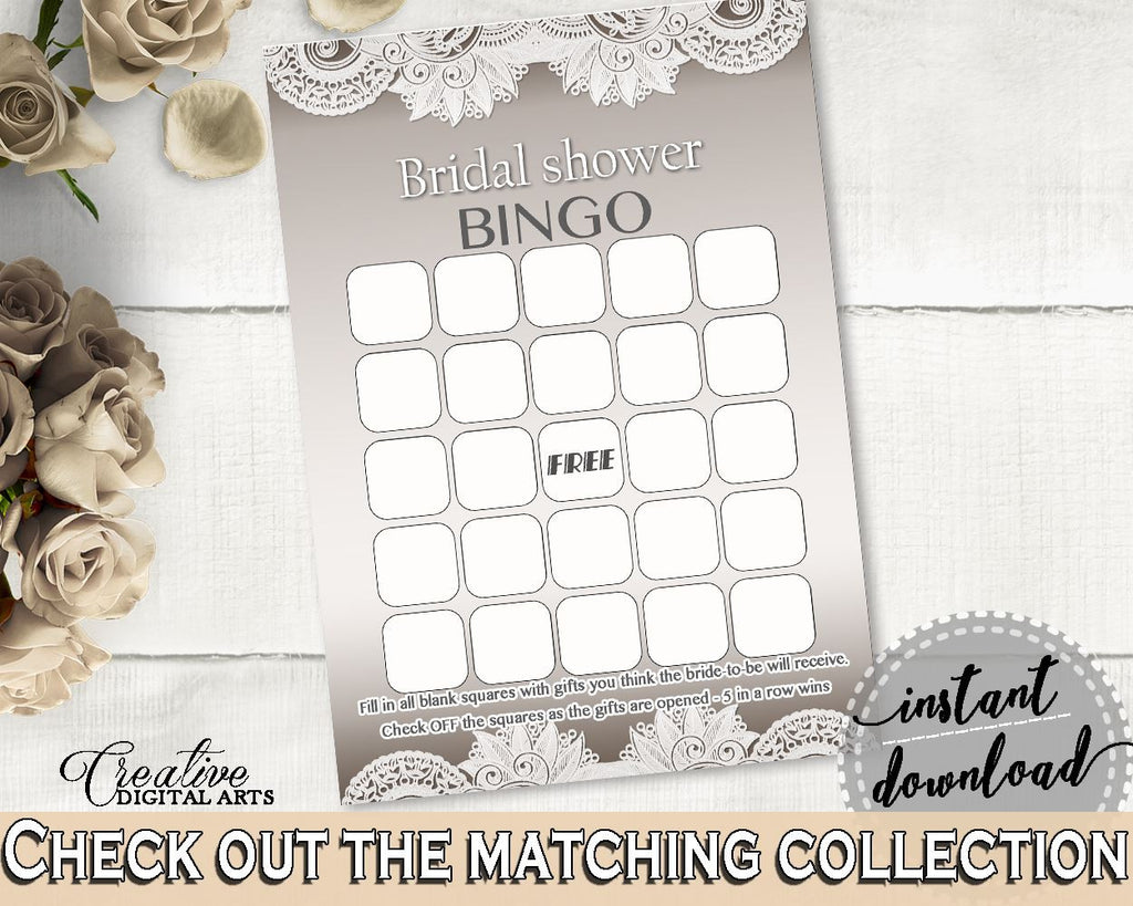 Bingo Gift Game in Traditional Lace Bridal Shower Brown And Silver Theme, bingo guess gifts, classy shower, party theme, party decor - Z2DRE - Digital Product