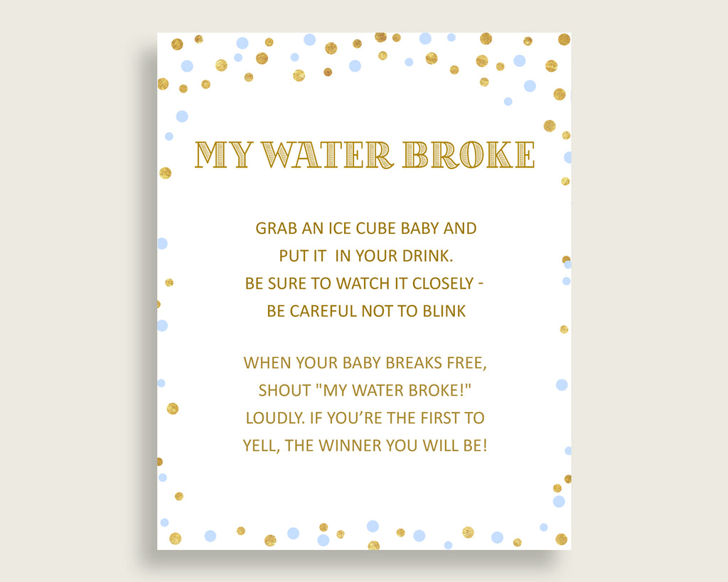 My Water Broke Baby Shower My Water Broke Confetti Baby Shower My Water Broke Blue Gold Baby Shower Confetti My Water Broke pdf jpg cb001