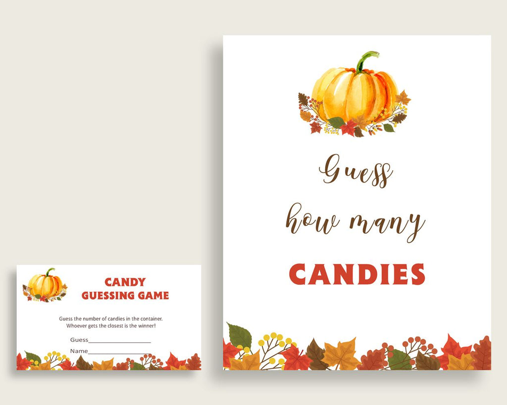 Candy Guessing Baby Shower Candy Guessing Fall Baby Shower Candy Guessing Baby Shower Pumpkin Candy Guessing Orange Brown prints party BPK3D - Digital Product