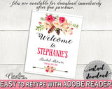 Bohemian Flowers Bridal Shower Bridal Shower Welcome Sign Editable in Pink And Red, photo props, most popular, party decor, prints - 06D7T - Digital Product