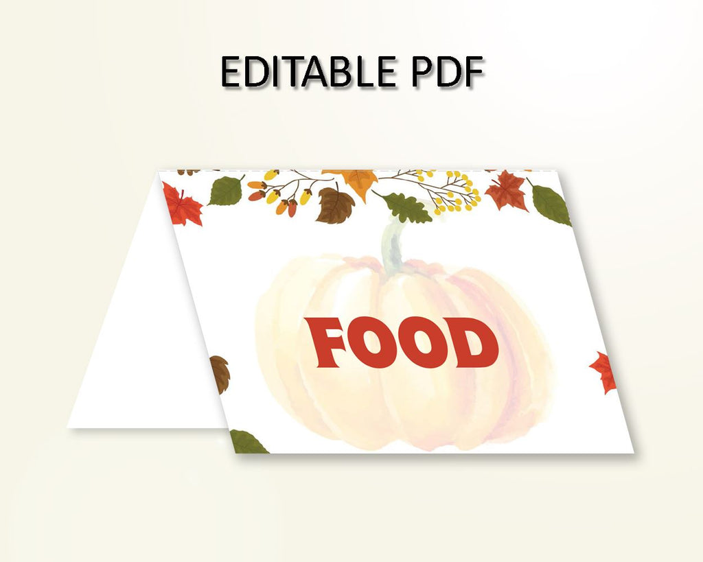 Food Tents Baby Shower Food Tents Autumn Baby Shower Food Tents Baby Shower Pumpkin Food Tents Orange Brown party supplies prints OALDE - Digital Product