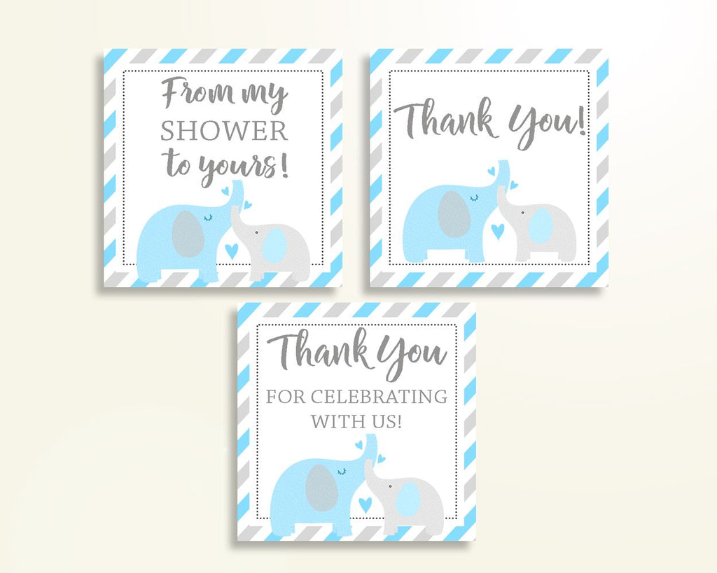 Thank You Tags Baby Shower Thank You Tags Elephant Baby Shower Thank You Tags Blue Gray Baby Shower Elephant Thank You Tags prints C0U64 - Digital Product