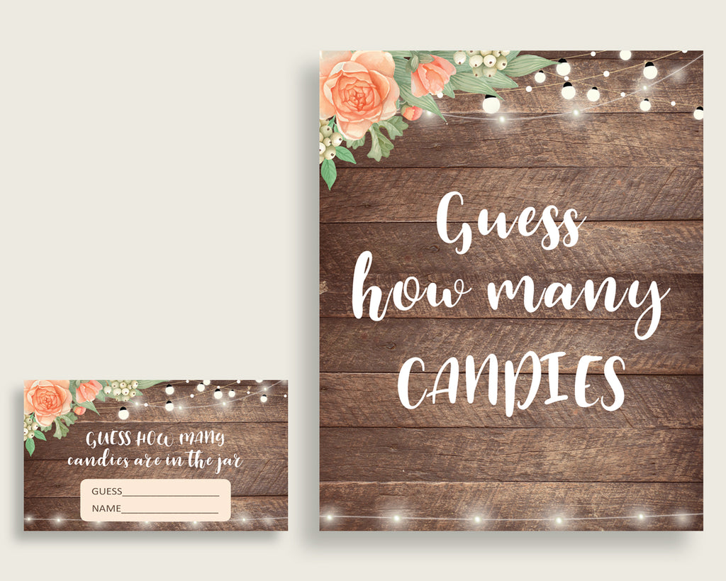 Candy Guessing Game Bridal Shower Candy Guessing Game Rustic Bridal Shower Candy Guessing Game Bridal Shower Flowers Candy Guessing SC4GE