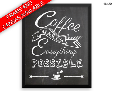Coffee Print, Beautiful Wall Art with Frame and Canvas options available Bar Decor