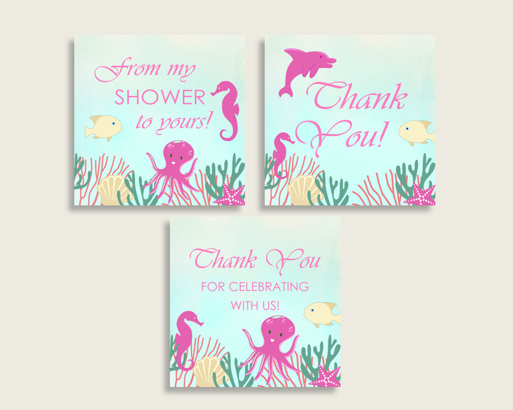 Thank You Tags Baby Shower Thank You Tags Under The Sea Baby Shower Thank You Tags Baby Shower Under The Sea Thank You Tags Pink Green uts01