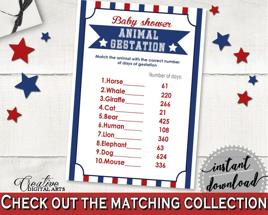 Animal Gestation Baby Shower Animal Gestation Baseball Baby Shower Animal Gestation Baby Shower Baseball Animal Gestation Blue Red pdf YKN4H - Digital Product