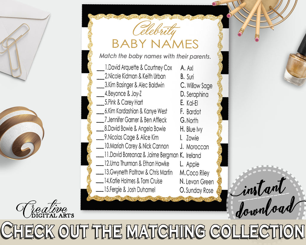 CELEBRITY BABY NAMES baby shower game with black white strips color theme, glitter gold, digital files, Jpg Pdf, instant download - bs001