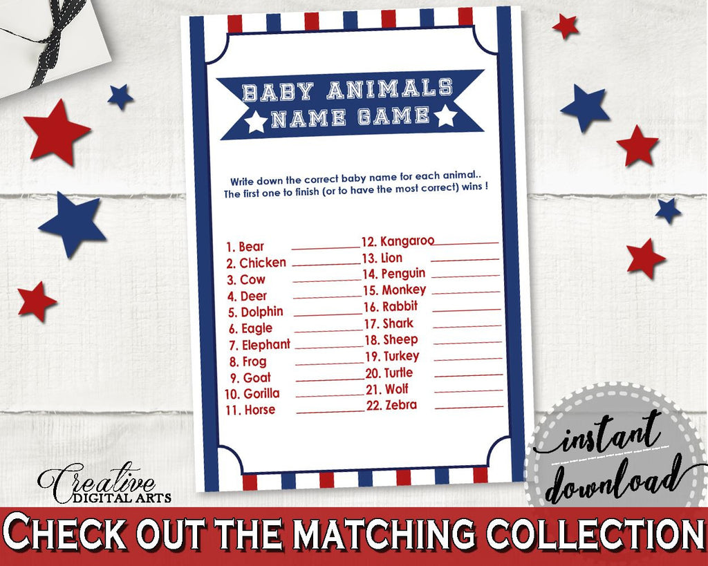 Baby Animal Names Baby Shower Baby Animal Names Baseball Baby Shower Baby Animal Names Baby Shower Baseball Baby Animal Names Blue Red YKN4H - Digital Product