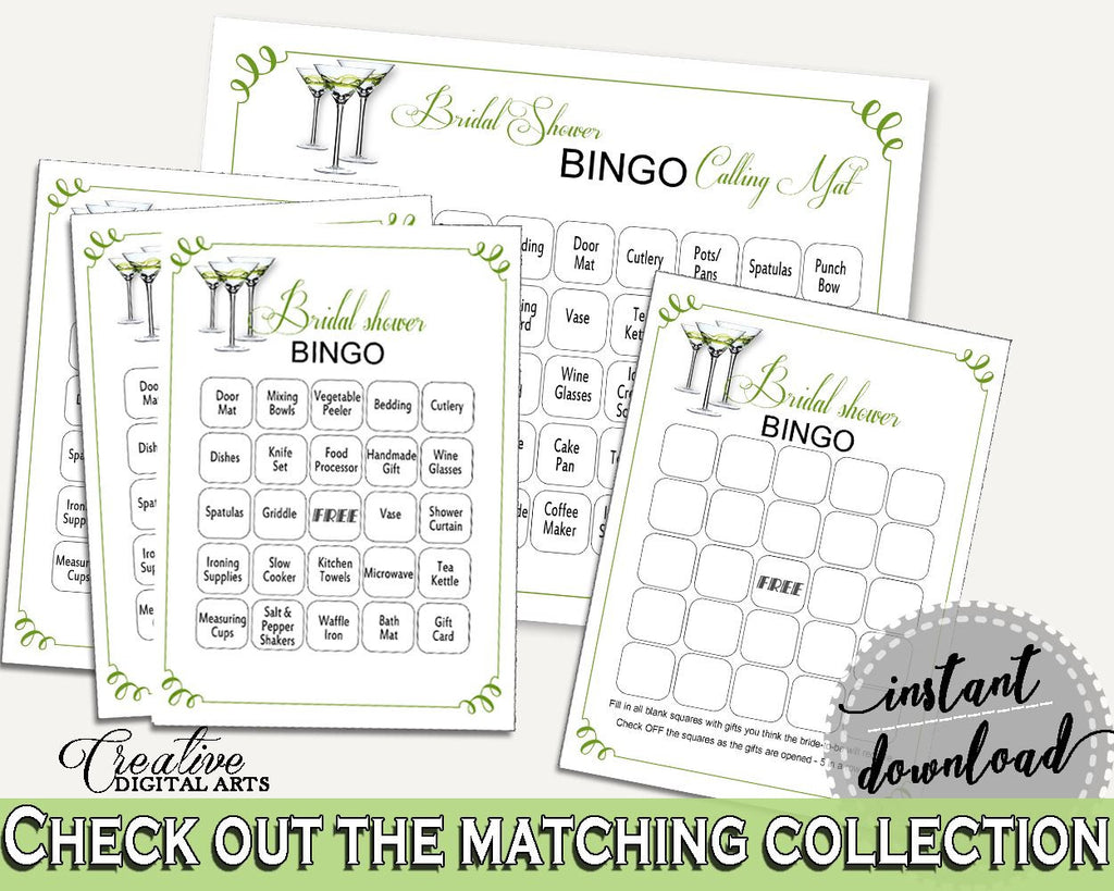 Bingo Bridal Shower Bingo Modern Martini Bridal Shower Bingo Bridal Shower Modern Martini Bingo Green White customizable files ARTAN - Digital Product