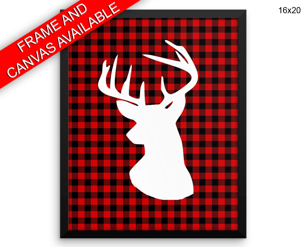 Plaid Deer Print, Beautiful Wall Art with Frame and Canvas options available Home Decor