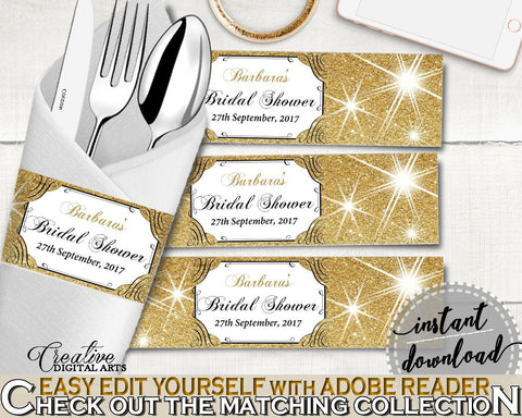 Napkin Ring Editable in Glittering Gold Bridal Shower Gold And Yellow Theme, napkin stickers, black gold, paper supplies, prints - JTD7P - Digital Product