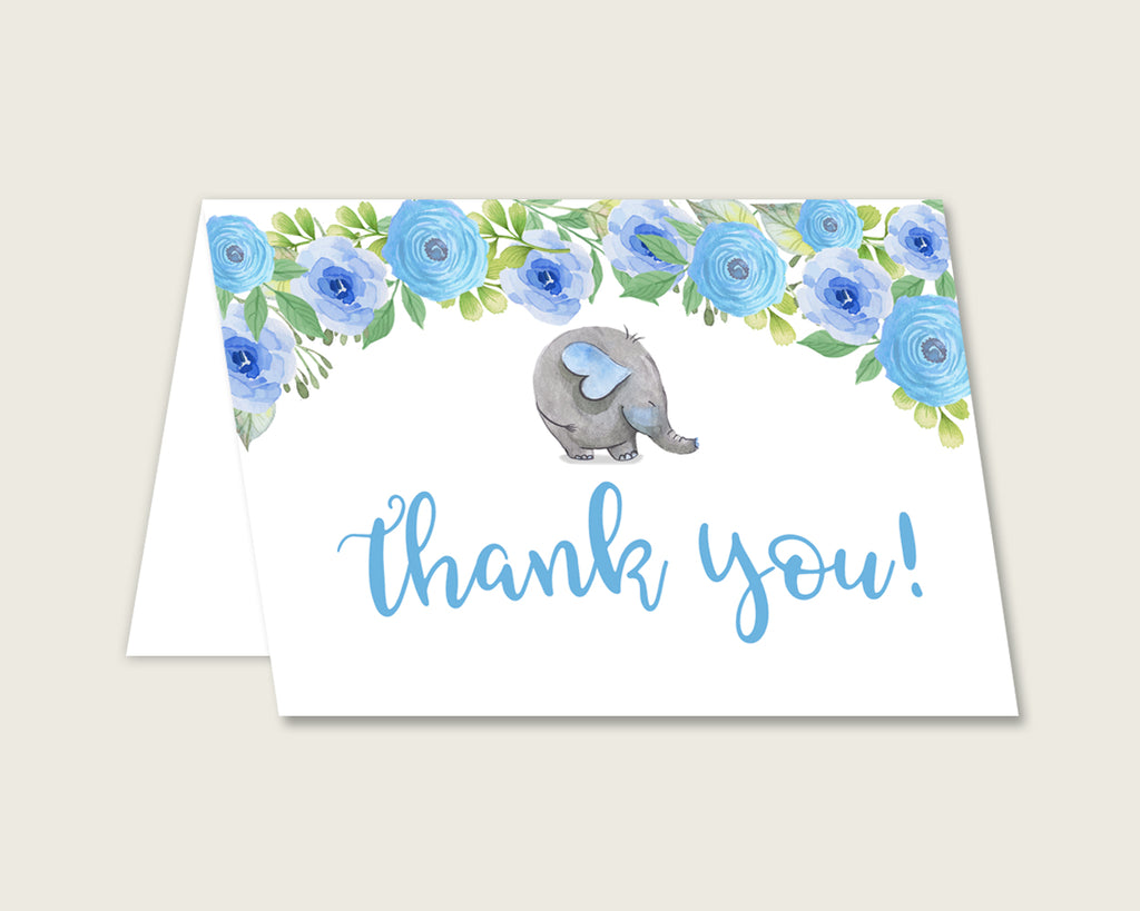 Blue Gray Thank You Cards Printable, Elephant Blue Baby Shower Thank You Notes, Boy Shower Thank You Folded, Instant Download, Flowers ebl01
