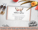 Antlers Flowers Bohemian Bridal Shower Invitation Insert Kindly Reply in Gray and Pink, answer ticket, blush pink, party decor - MVR4R - Digital Product