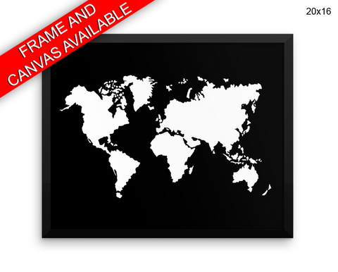 World Map Print, Beautiful Wall Art with Frame and Canvas options available Home Decor