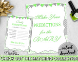 PREDICTIONS FOR BABY sign and cards activity printable for boy or girl shower with green chevron theme, Jpg Pdf, instant download - cgr01