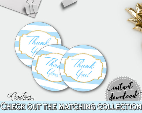 Baby shower THANK YOU round printable tag or sticker with blue white stripes for boys, digital, instant download - bs002