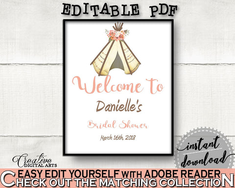 Welcome Sign Bridal Shower Welcome Sign Tribal Bridal Shower Welcome Sign Bridal Shower Tribal Welcome Sign Pink Brown party theme 9ENSG - Digital Product