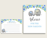 Elephant Blue Advice For Mommy To Be Cards & Sign, Printable Baby Shower Blue Gray Advice For New Parents, Instant Download, Flowers ebl01