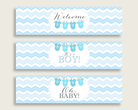 Blue White Water Bottle Labels Printable, Chevron Water Bottle Wraps, Chevron Baby Shower Boy Bottle Wrappers, Instant Download, cbl01